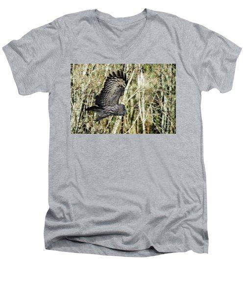Great Grey's Flight Men's V-Neck T-Shirt by Torbjorn Swenelius
