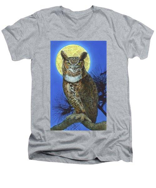 Great Horned Owl 2 Men's V-Neck T-Shirt