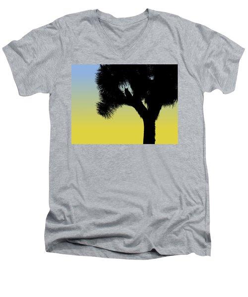 Great Horned Owl In A Joshua Tree Silhouette At Sunrise Men's V-Neck T-Shirt