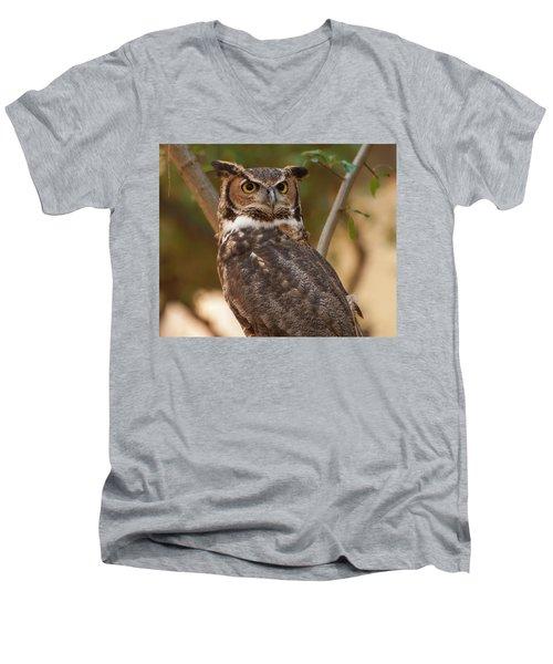 Great Horned Owl In A Tree 3 Men's V-Neck T-Shirt by Chris Flees