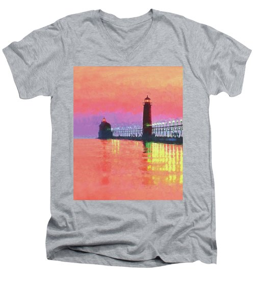 Great Lakes Light Men's V-Neck T-Shirt by Dennis Cox WorldViews