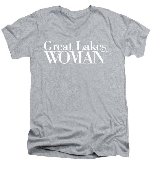 Great Lakes Woman White Logo Men's V-Neck T-Shirt