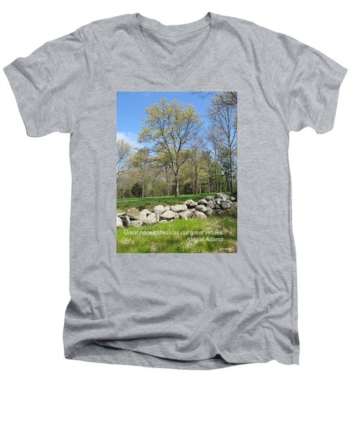 Great Necessities Call Out Great Virtues  Men's V-Neck T-Shirt by Deborah Dendler