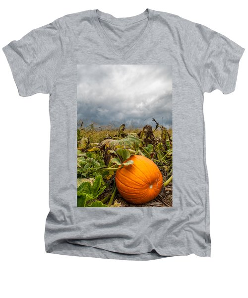 Great Pumpkin Off Center Men's V-Neck T-Shirt