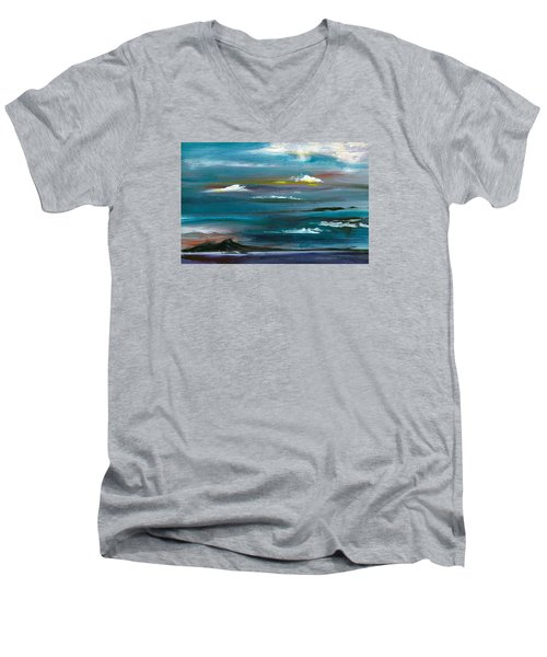 Men's V-Neck T-Shirt featuring the painting Great Salt Lake by Jane Autry