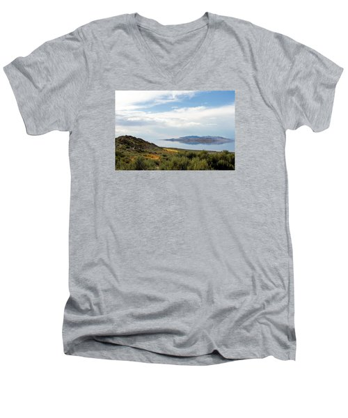 Great Salt Lake Men's V-Neck T-Shirt by Menachem Ganon