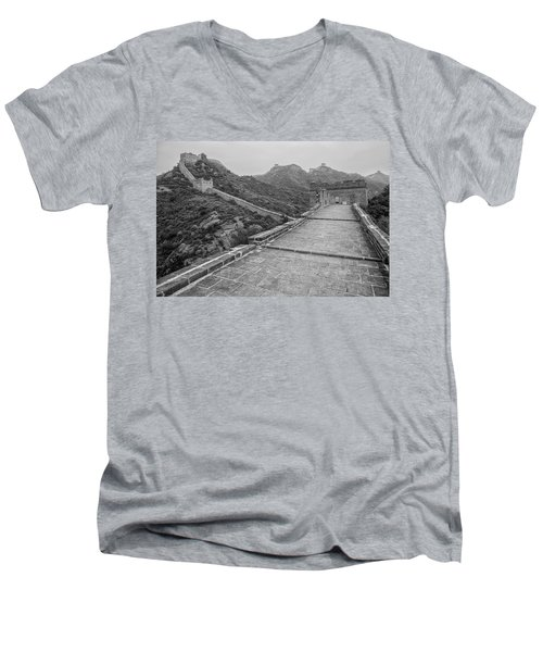 Men's V-Neck T-Shirt featuring the photograph Great Wall 5, Jinshanling, 2016 by Hitendra SINKAR