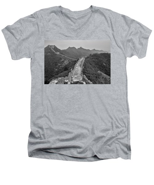 Men's V-Neck T-Shirt featuring the photograph Great Wall 6, Jinshanling, 2016 by Hitendra SINKAR