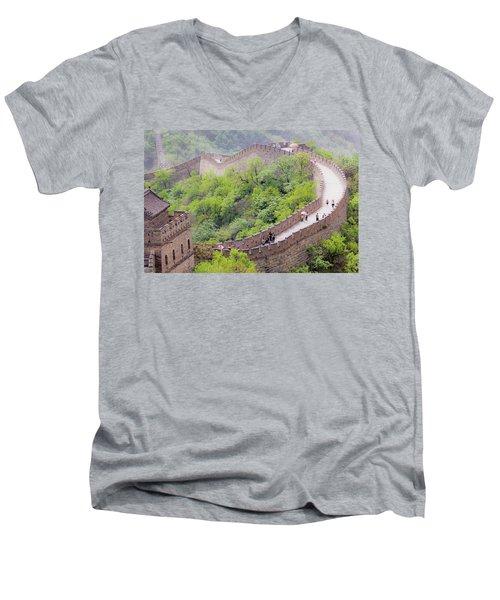 Great Wall At Badaling Men's V-Neck T-Shirt