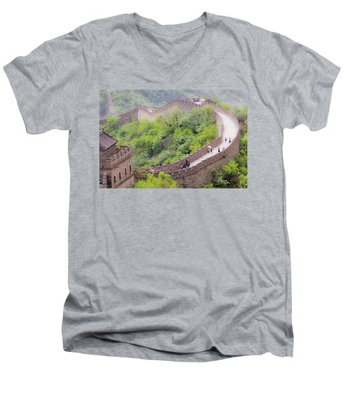 Great Wall At Badaling Men's V-Neck T-Shirt