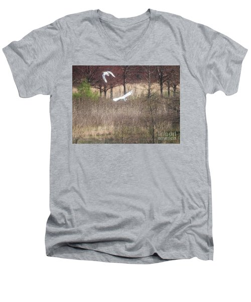 Men's V-Neck T-Shirt featuring the photograph Great White Egret - 3 by David Bearden