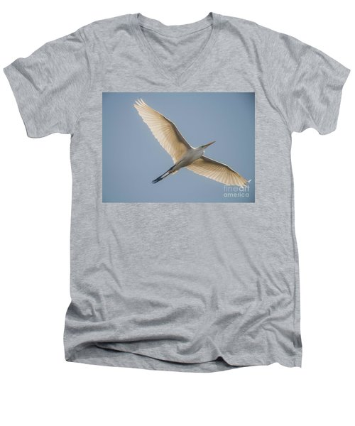 Men's V-Neck T-Shirt featuring the photograph Great White Egret by David Bearden