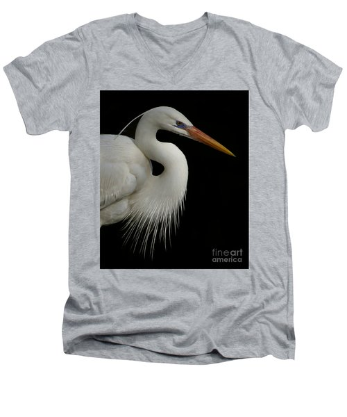 Men's V-Neck T-Shirt featuring the photograph Great White Heron Portrait by Myrna Bradshaw