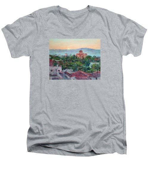 Greek Orthodox Sunset Men's V-Neck T-Shirt