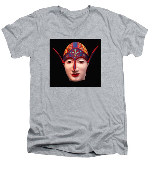 Greek Warrior Head Men's V-Neck T-Shirt by Nigel Fletcher-Jones