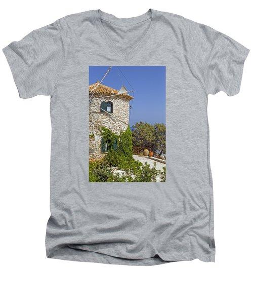 Greek Windmill Men's V-Neck T-Shirt by Rainer Kersten