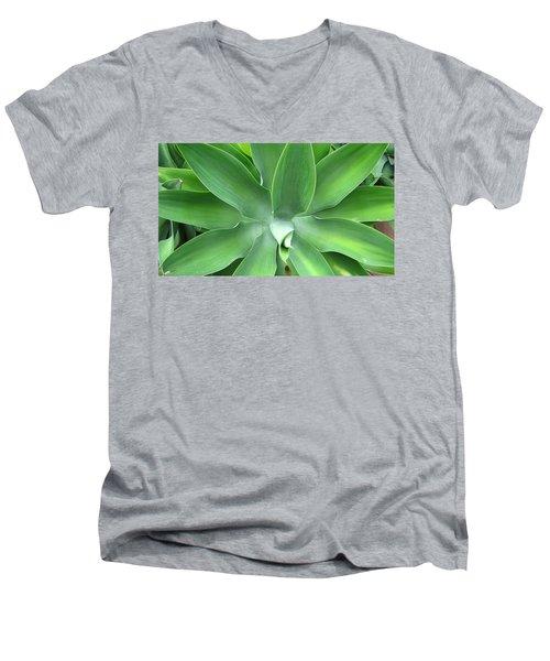 Green Agave Leaves Men's V-Neck T-Shirt