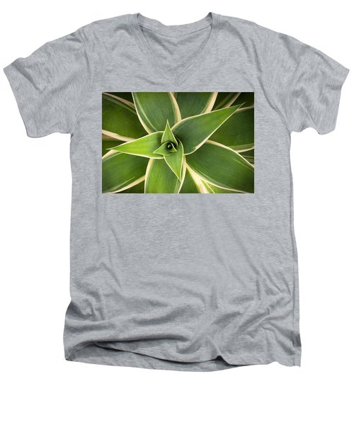 Men's V-Neck T-Shirt featuring the photograph Green Agave by Catherine Lau