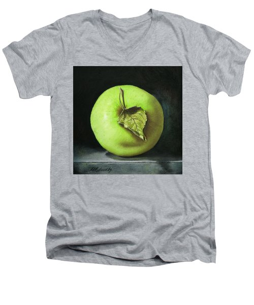 Green Apple With Leaf Men's V-Neck T-Shirt