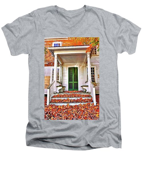 Green Autumn Door Men's V-Neck T-Shirt by Joan Reese