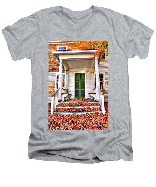 Green Autumn Door Men's V-Neck T-Shirt