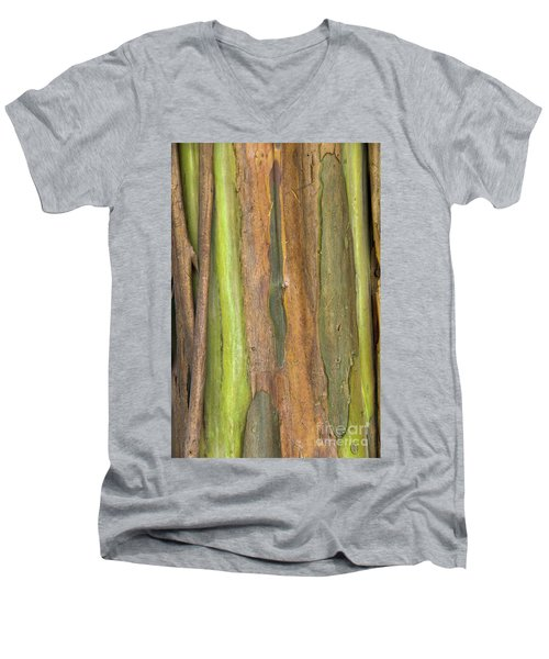 Men's V-Neck T-Shirt featuring the photograph Green Bark 3 by Werner Padarin