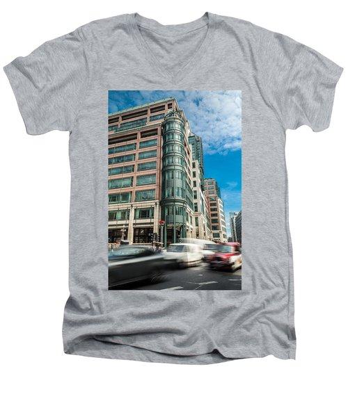 Green Building On Liverpool Metro Station London Men's V-Neck T-Shirt