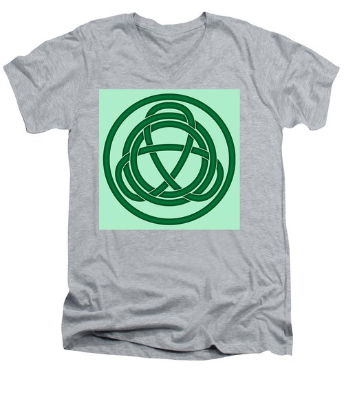 Men's V-Neck T-Shirt featuring the digital art Green Celtic Knot by Jane McIlroy