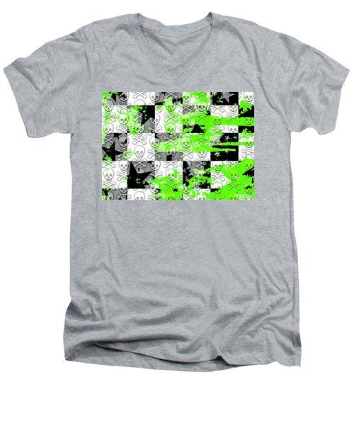 Green Checker Skull Splatter Men's V-Neck T-Shirt by Roseanne Jones