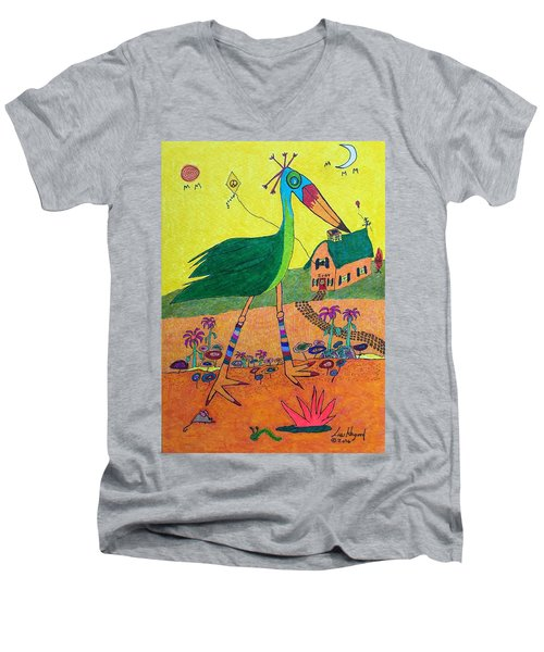 Green Crane With Leggings And Painted Toes Men's V-Neck T-Shirt