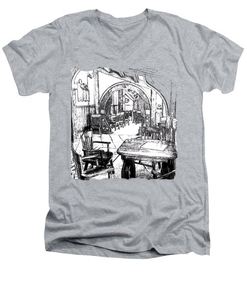 Men's V-Neck T-Shirt featuring the drawing Green Dragon Inn's Writing Nook T-shirt by Kathy Kelly