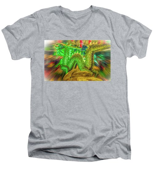Green Dragon Men's V-Neck T-Shirt by Mark Dunton