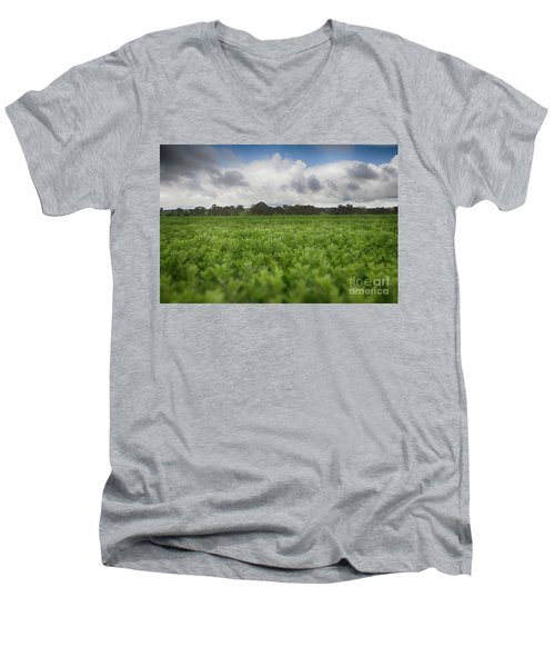 Men's V-Neck T-Shirt featuring the photograph Green Fields 4 by Douglas Barnard