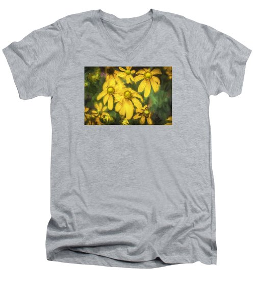 Green Headed Coneflowers Painted Men's V-Neck T-Shirt by Rich Franco