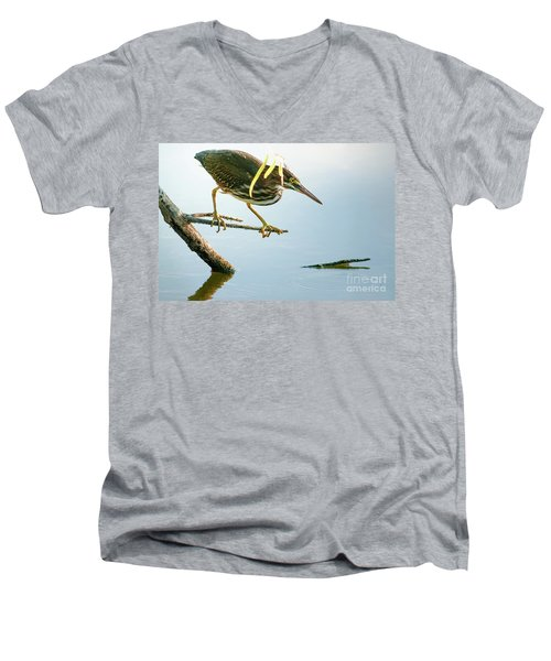 Men's V-Neck T-Shirt featuring the photograph Green Heron Sees Minnow by Robert Frederick