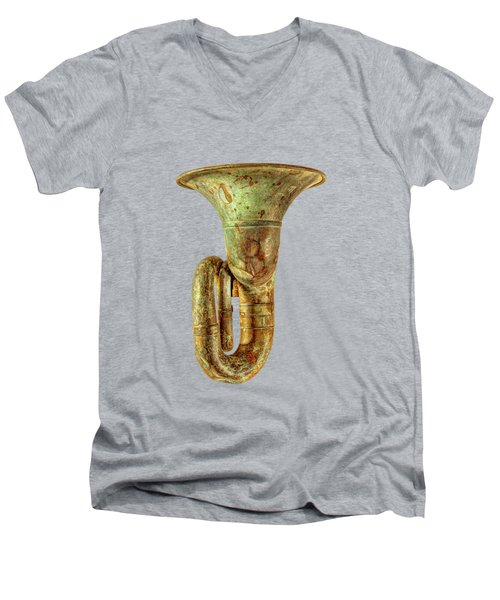 Green Horn Up On Black Men's V-Neck T-Shirt
