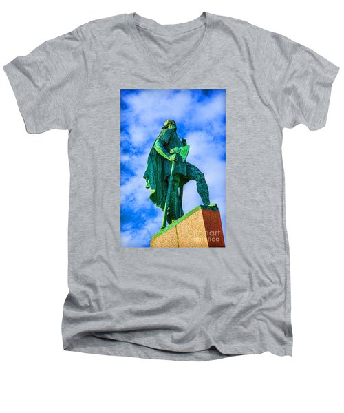 Men's V-Neck T-Shirt featuring the photograph Green Leader by Rick Bragan