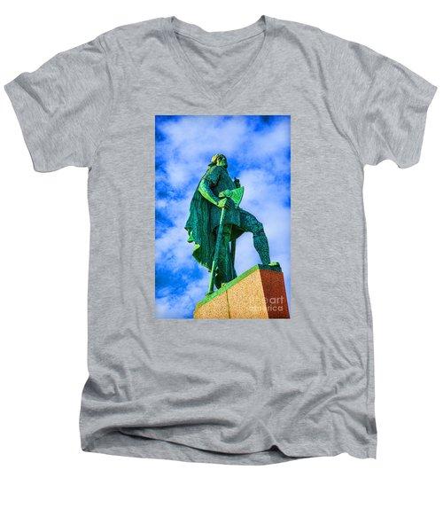 Green Leader Men's V-Neck T-Shirt by Rick Bragan