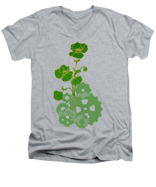 Green Mechanical Flowers Men's V-Neck T-Shirt