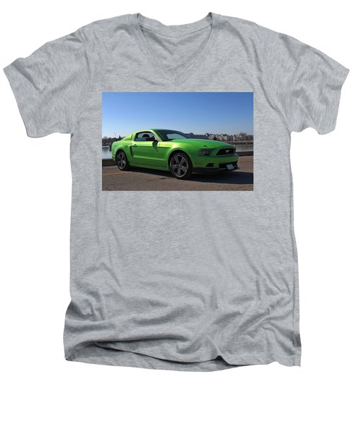 Green Mustang Men's V-Neck T-Shirt