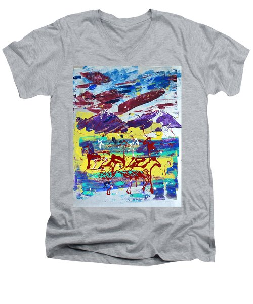 Green Pastures And Purple Mountains Men's V-Neck T-Shirt by J R Seymour