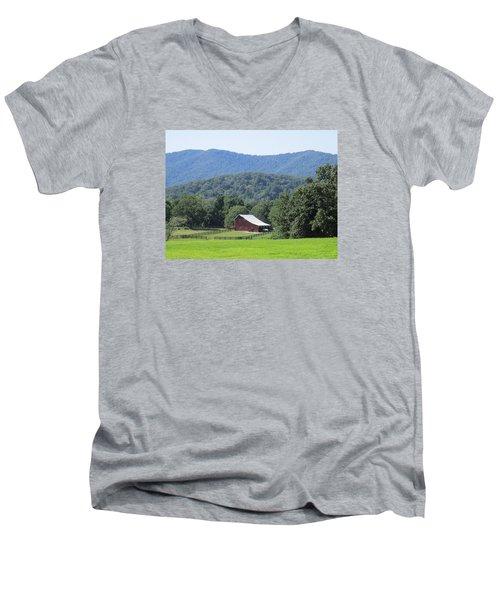 Mountain Barn Retreat Men's V-Neck T-Shirt by Charlotte Gray