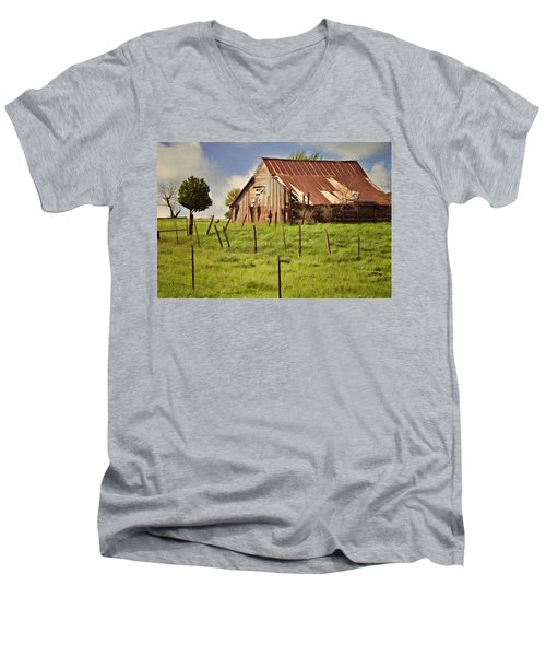 Green Pastures Men's V-Neck T-Shirt by Lana Trussell