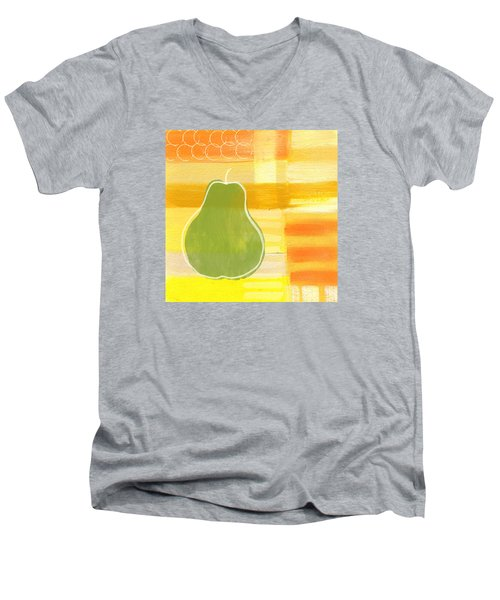 Men's V-Neck T-Shirt featuring the painting Green Pear- Art By Linda Woods by Linda Woods