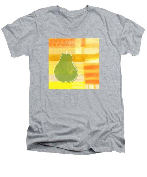 Green Pear- Art By Linda Woods Men's V-Neck T-Shirt by Linda Woods