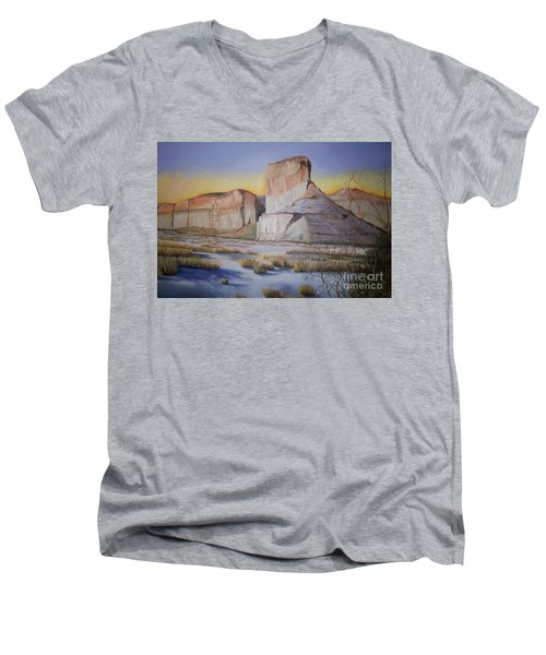 Green River Wyoming Men's V-Neck T-Shirt by Marlene Book
