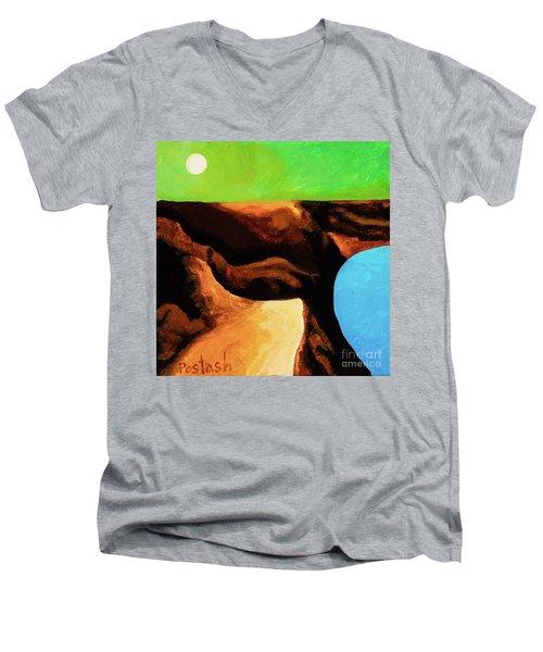 Green Skies Men's V-Neck T-Shirt by Igor Postash
