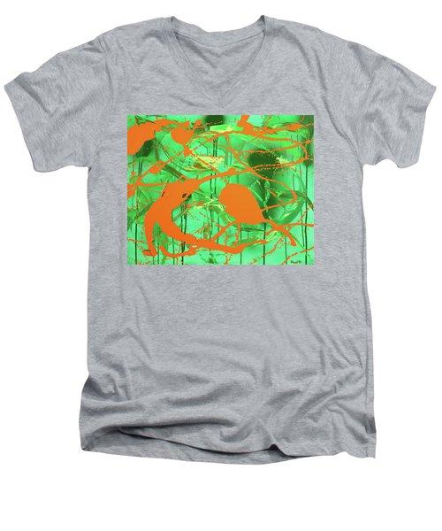 Green Spill Men's V-Neck T-Shirt by Thomas Blood