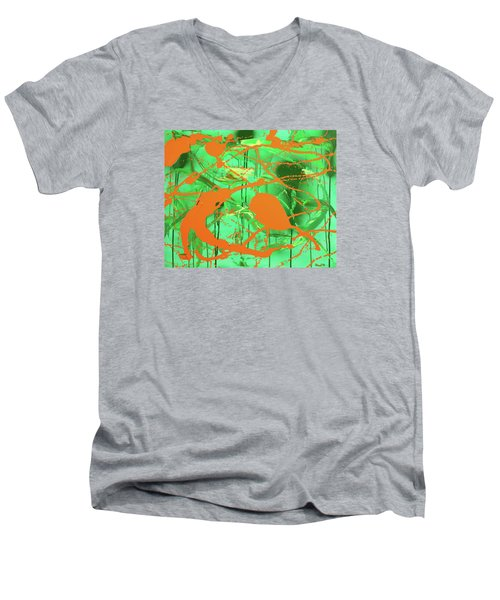 Green Spill Men's V-Neck T-Shirt