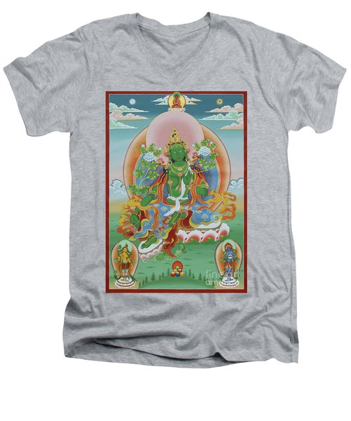Green Tara With Retinue Men's V-Neck T-Shirt
